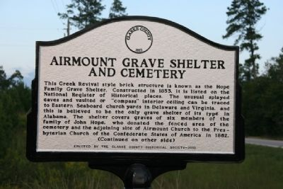 Airmount Grave Shelter And Cemetery Marker (Front) image. Click for full size.
