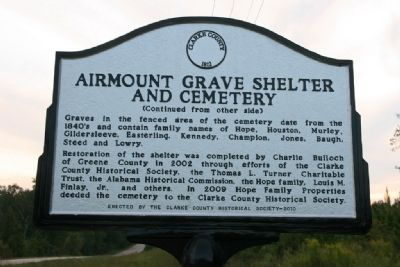 Airmount Grave Shelter And Cemetery Marker (Reverse) image. Click for full size.