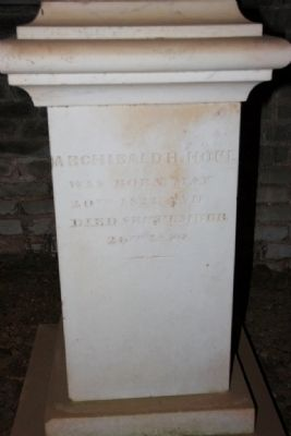 Grave site of Archibald H. Hope, May 20, 1823 – September 26, 1850. Oldest bural in the shelter. image. Click for full size.