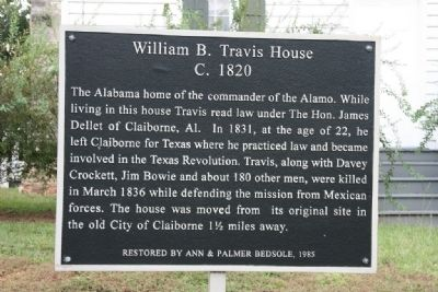 William B. Travis House C. 1820 Marker image. Click for full size.