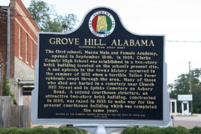 Grove Hill, Alabama Marker (Reverse) image. Click for full size.