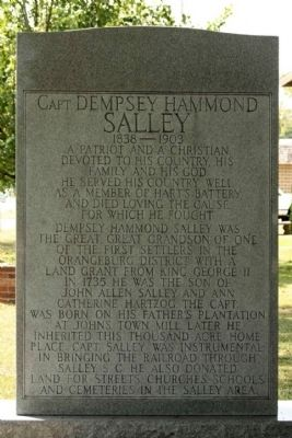 Capt. Dempsey Hammond Salley Marker image. Click for full size.