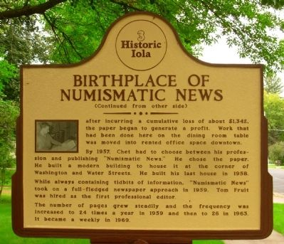 Birthplace of Numismatic News Marker image. Click for full size.