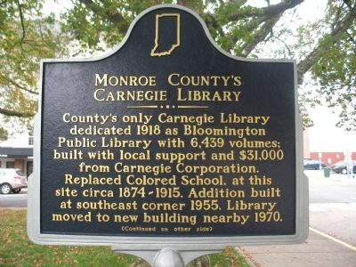Monroe County's Carnegie Library Marker image. Click for full size.