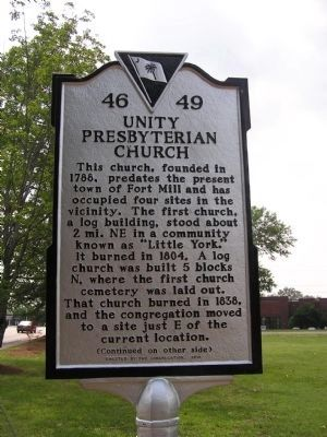 Unity Presbyterian Church Marker image. Click for full size.