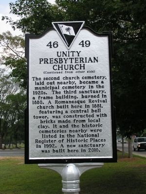 Unity Presbyterian Church Marker Reverse image. Click for full size.