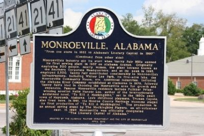 Monroeville, Alabama Marker (Reverse) image. Click for full size.