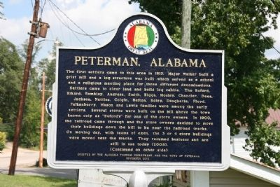 Peterman, Alabama Marker (Front) image. Click for full size.