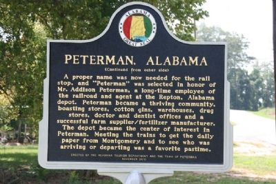 Peterman, Alabama Marker (Reverse) image. Click for full size.