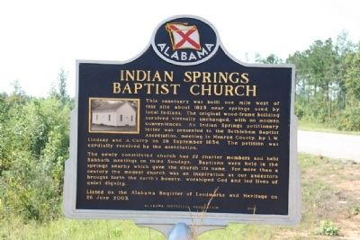 Indian Springs Baptist Church Marker image. Click for full size.