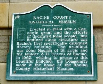 Racine County Historical Museum Marker image. Click for full size.