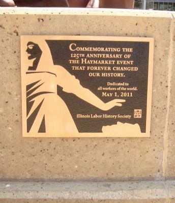 Site of the Haymarket Tragedy anniversary plaque. image. Click for full size.