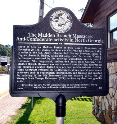 The Madden Branch Massacre: Anti-Confederate activity in North Georgia Marker image. Click for full size.