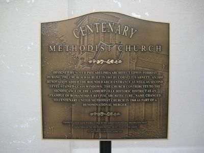 Centenary Methodist Church Marker image. Click for full size.