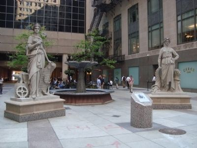 The Chicago Board of Trade's Statues and Marker image. Click for full size.