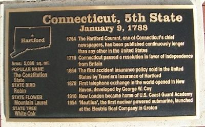 Connecticut, 5th State Marker image. Click for full size.