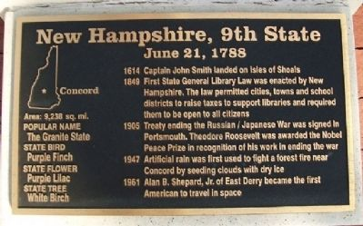 New Hampshire, 9th State Marker image. Click for full size.