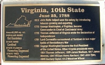 Virginia, 10th State Marker image. Click for full size.