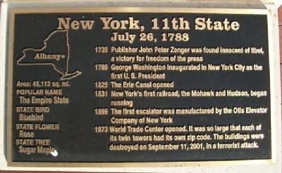 New York, 11th State Marker image. Click for full size.