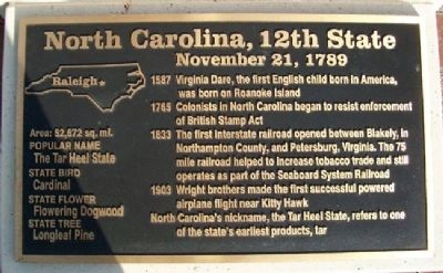 North Carolina, 12th State Marker image. Click for full size.