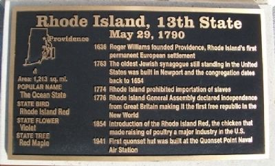 Rhode Island, 13th State Marker image. Click for full size.