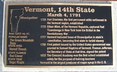 Vermont, 14th State Marker image. Click for full size.