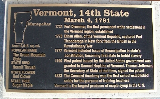 Vermont, 14th State Marker