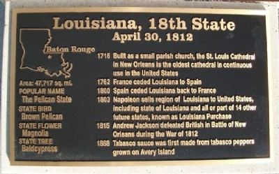 Louisiana, 18th State Marker image. Click for full size.