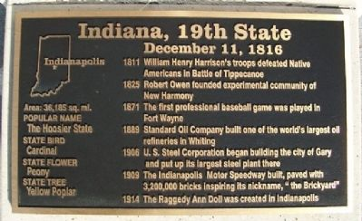 Indiana, 19th State Marker image. Click for full size.
