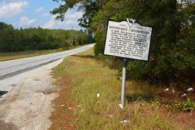 Sheppard's Crossroads Marker seen looking north along US 25 image. Click for full size.