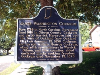 Side 'One' - - James Washington Cockrum Marker image. Click for full size.