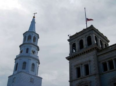 St. Michael&#39;s Steeple (Left)<br>U.S. Post Office Tower (Right) image. Click for full size.