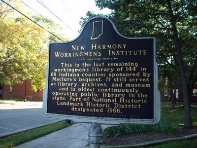 Side 'Two' - - New Harmony Workingmen's Institute Marker image. Click for full size.