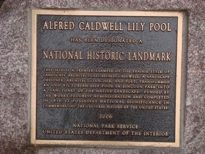 Alfred Caldwell Lily Pool Marker image. Click for full size.