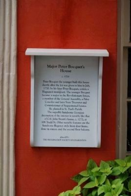 Major Peter Bocquet's House Marker image. Click for full size.