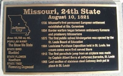 Missouri, 24th State Marker image. Click for full size.