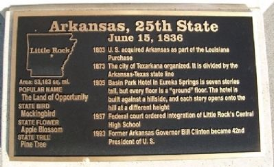 Arkansas, 25th State Marker image. Click for full size.