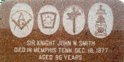 Sir Knight John W. Smith Detail on Monument image. Click for full size.