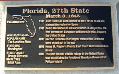 Florida, 27th State Marker image. Click for full size.