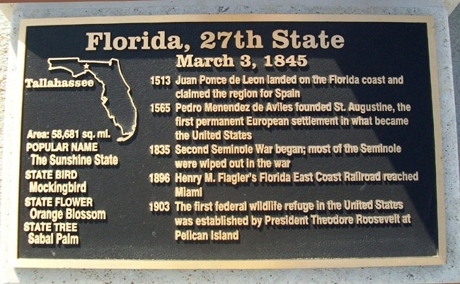 Florida, 27th State Marker