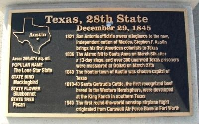 Texas, 28th State Marker image. Click for full size.