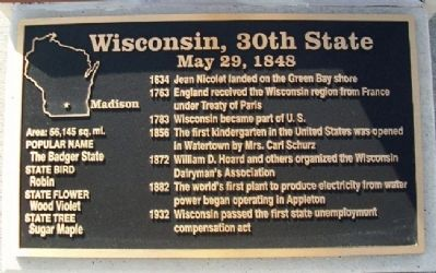 Wisconsin, 30th State Marker image. Click for full size.