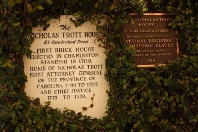 The Nicholas Trott House Marker image. Click for full size.