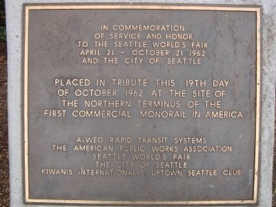 Northern Terminus of the First Commercial Monorail Marker image. Click for full size.