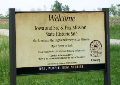 Iowa and Sac & Fox Mission Entrance Sign image. Click for full size.