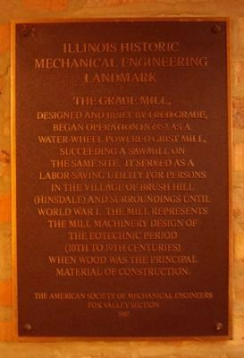 Plaque inside the Graue Mill image. Click for full size.