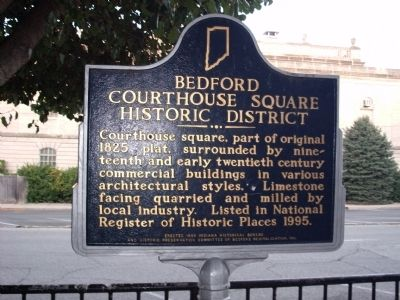 Obverse View - - Bedford Courthouse Square Historic District Marker image. Click for full size.