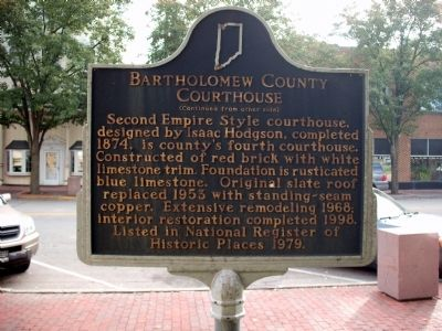 Side 'Two' - - Bartholomew County Courthouse Marker image. Click for full size.