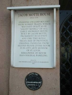Jacob Motte House Marker including: image. Click for full size.