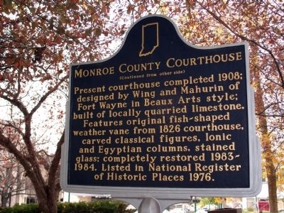 Side 'Two' - - Monroe County Courthouse Marker image. Click for full size.
